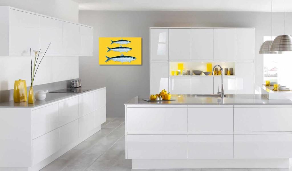 Tableau contemporain cuisine jaune