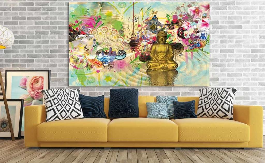 Quel tableau contemporain dans un int rieur jaune - Tableau design grand format ...