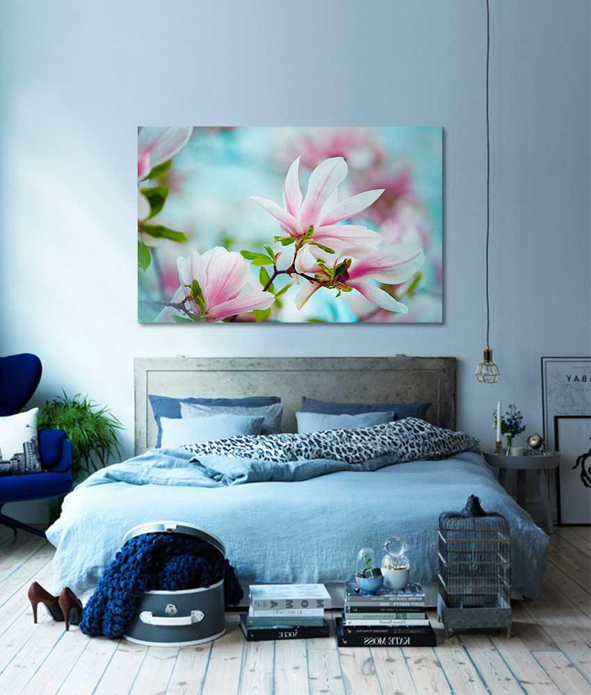Toile design magnolia chambre bleue