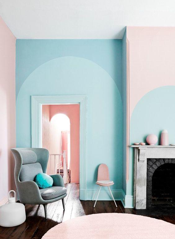 Salon pastel rose et bleu ciel