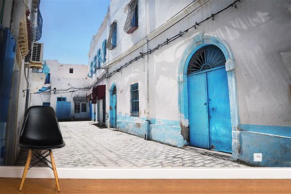 Papier peint trompe l'oeil rue tunisienne