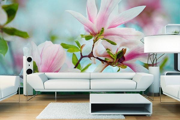 Papier peint de fleur Magnolia pastel