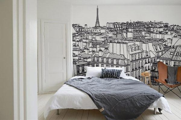 Papier peint chambre Toits de Paris