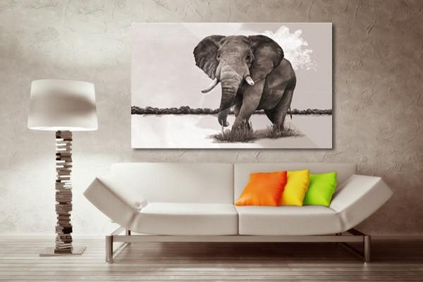 Tableau décoratif éléphant de la savane