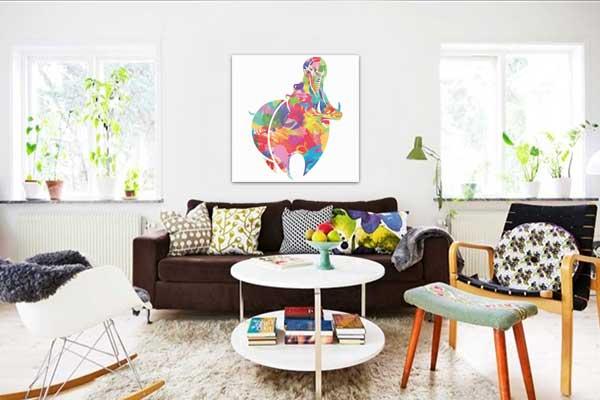 Tableau coloré hippo