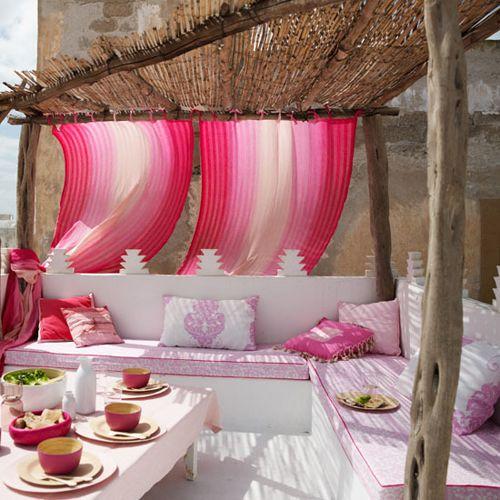 terrasse ethnique rose