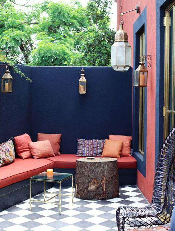 D co salon exotique chic for Peinture pour balcon exterieur
