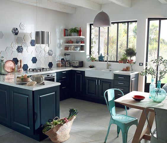 Du bleu dans la cuisine