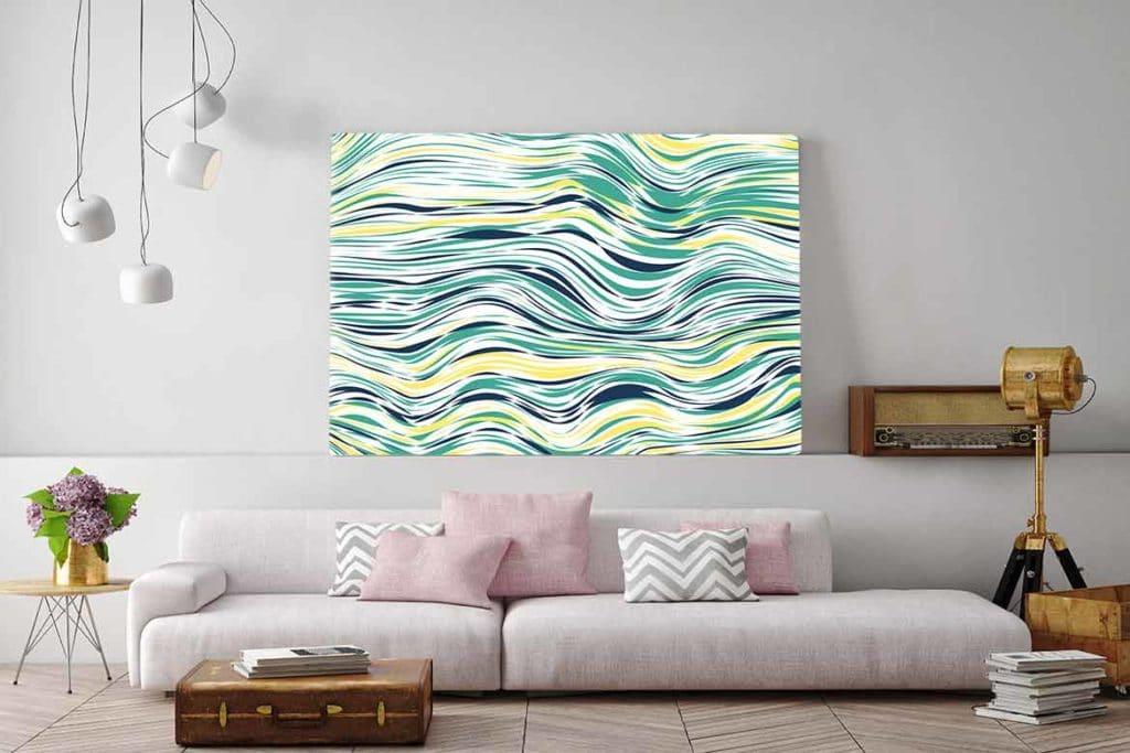 Nouveaut tableau abstrait horizontal line for Tableau scandinave bleu
