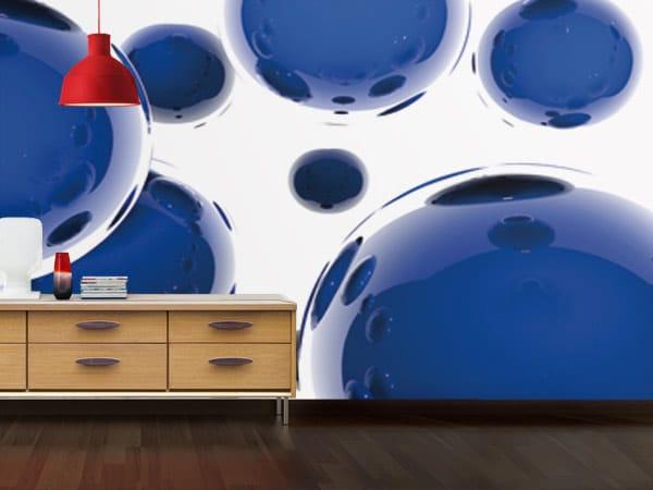 Papier peint graphique Sphère bleue