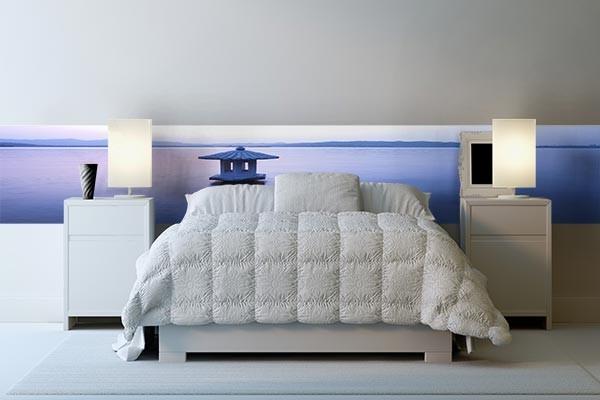 Papier peint trompe l'oeil pour chambre bleue