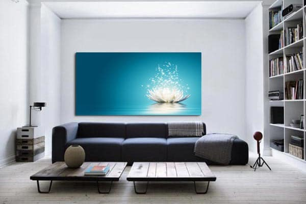 Toile déco zen fleur lotus bleu