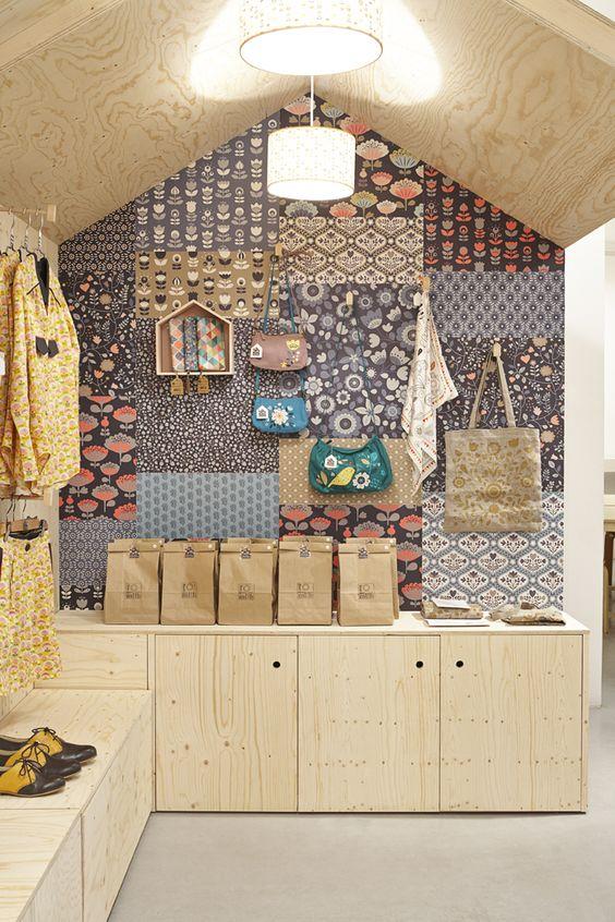 Mur magasin patchwork papier peint