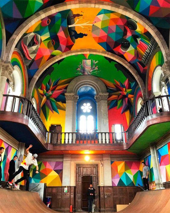 église transformée en skate parc par Okuda Llanera