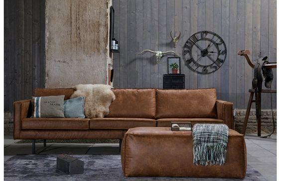 Canapé en cuir marron vintage