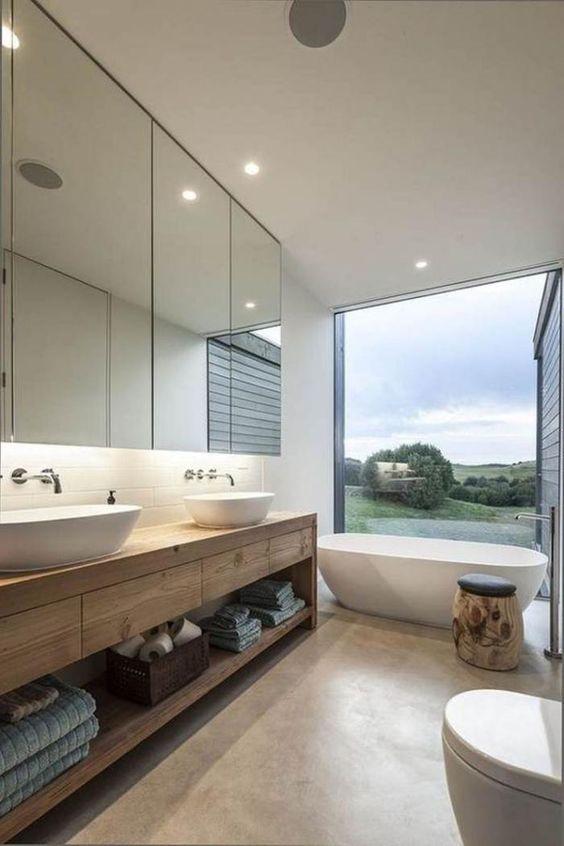 Salle de bain bois épuré