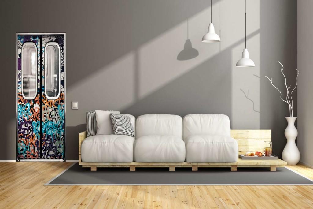 Sticker de porte contemporain et urbain dans une déco zen et épurée