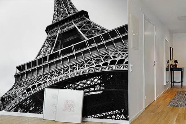 Papier peint noir et blanc Tour Eiffel
