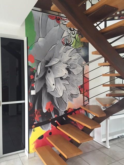 papier peint graphique montée d'escalier