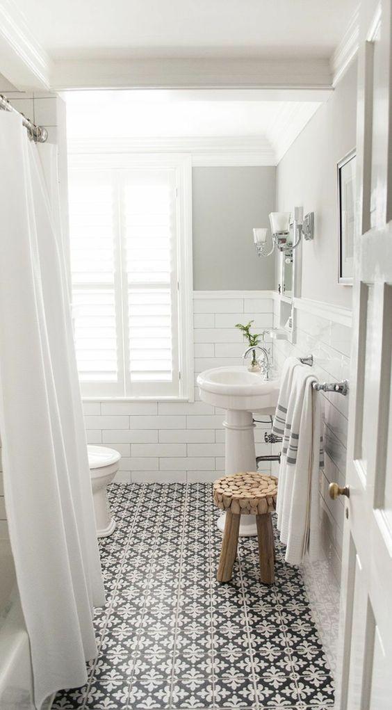 salle de bain sol noir et blanc