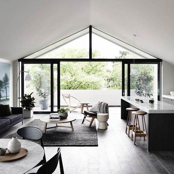 salon cuisine noir et blanc