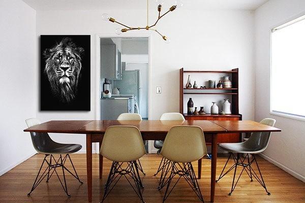 Tableau moderne photo lion noir et blanc