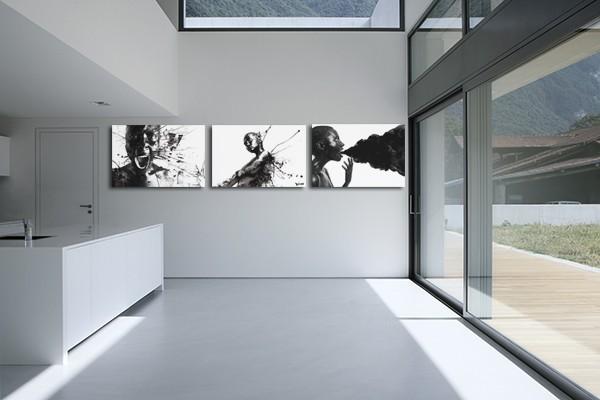 Toile triptyque art contemporain noir et blanc