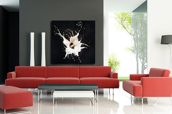 Toile graphique Hibiscus noir et blanc