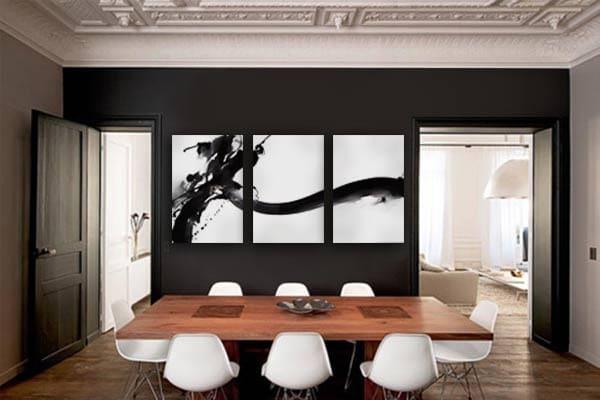 Triptyque abstrait noir et blanc