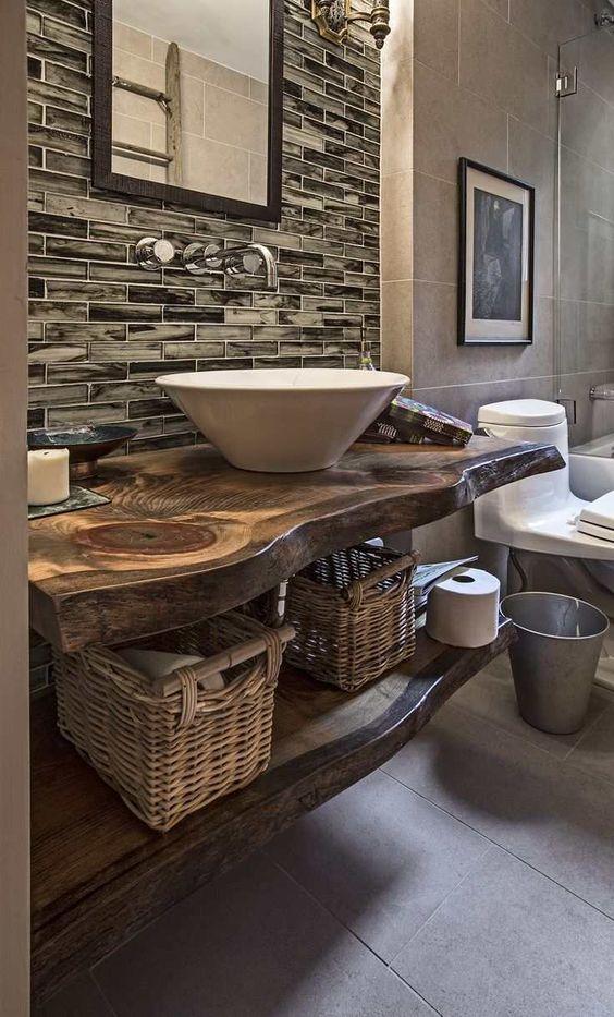 Vasque en bois naturel