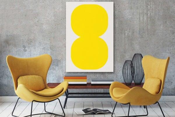 Toile design minimaliste jaune