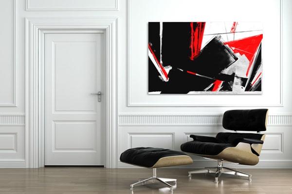 Toile abstraite rouge et noir Izoa