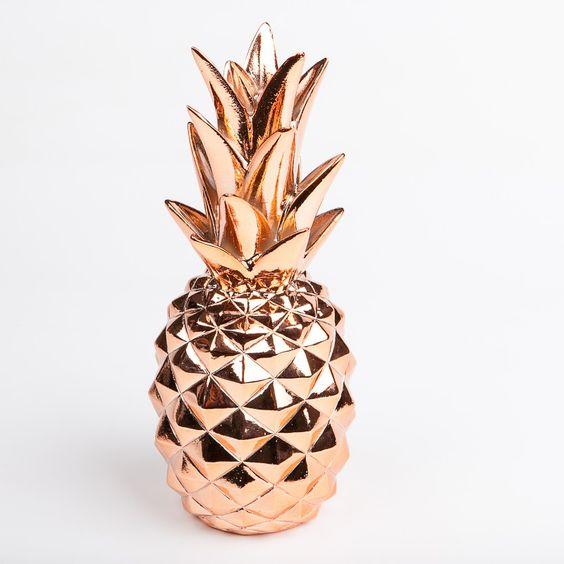 accessoire deco ananas cuivre