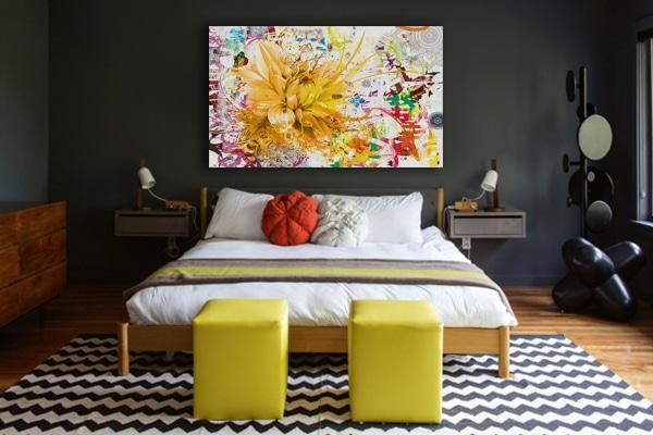 deco chambre toile imprimee fleur jaune