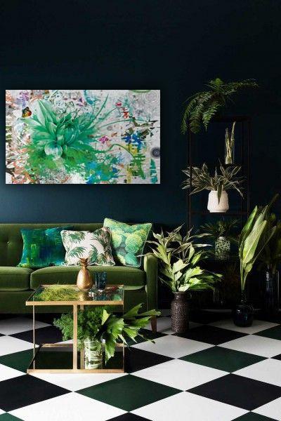 decoration salon vert toile murale fleur
