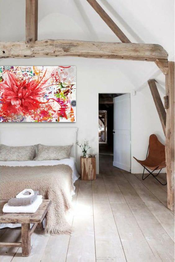 decoration chambre scandinave tableau fleur colore