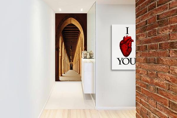 Poster mural trompe l'oeil fond de couloir