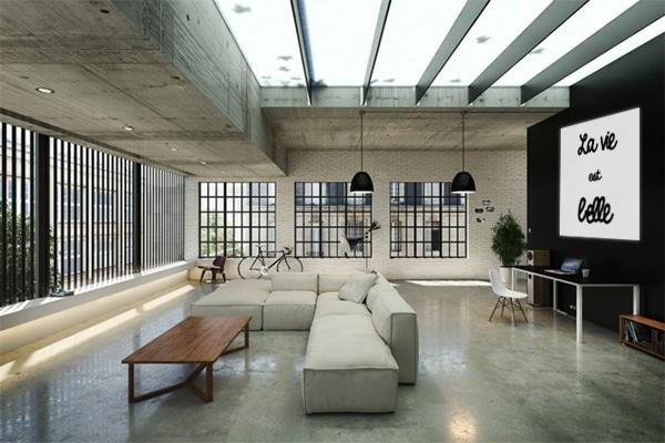 salon industriel minimaliste