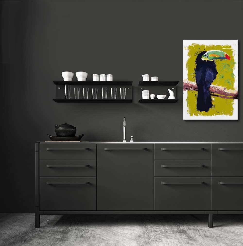 Quel tableau d coratif pour un mur sombre for Cuisine kaki