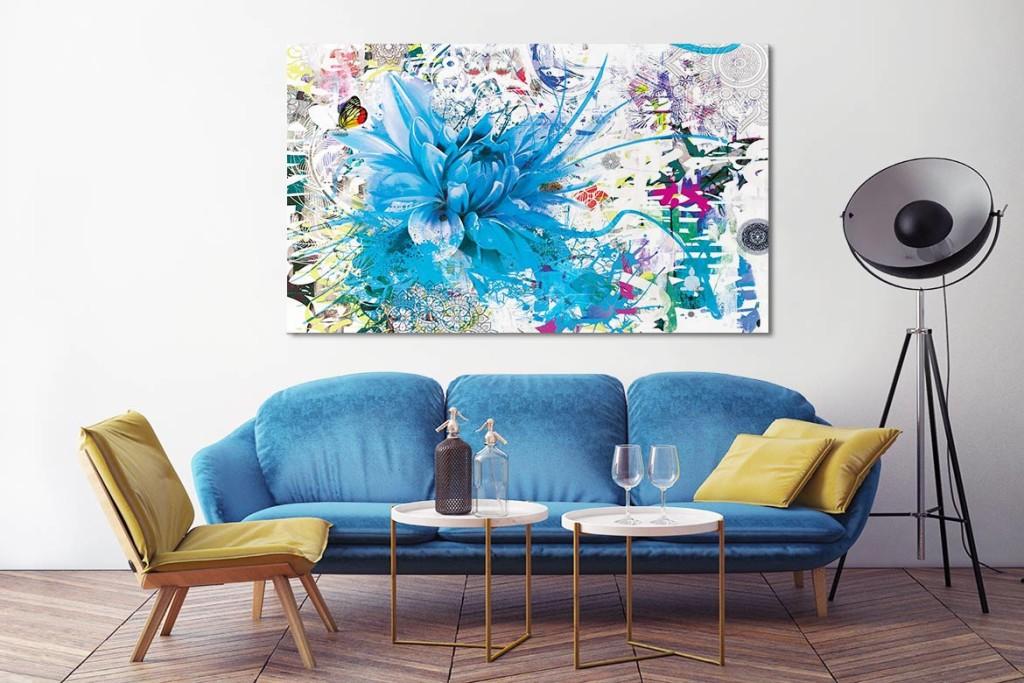 tableau decoration fleur bleu ciel