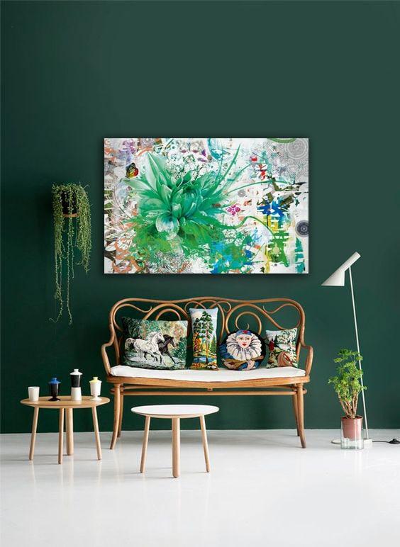tableau fleur divine folie vert