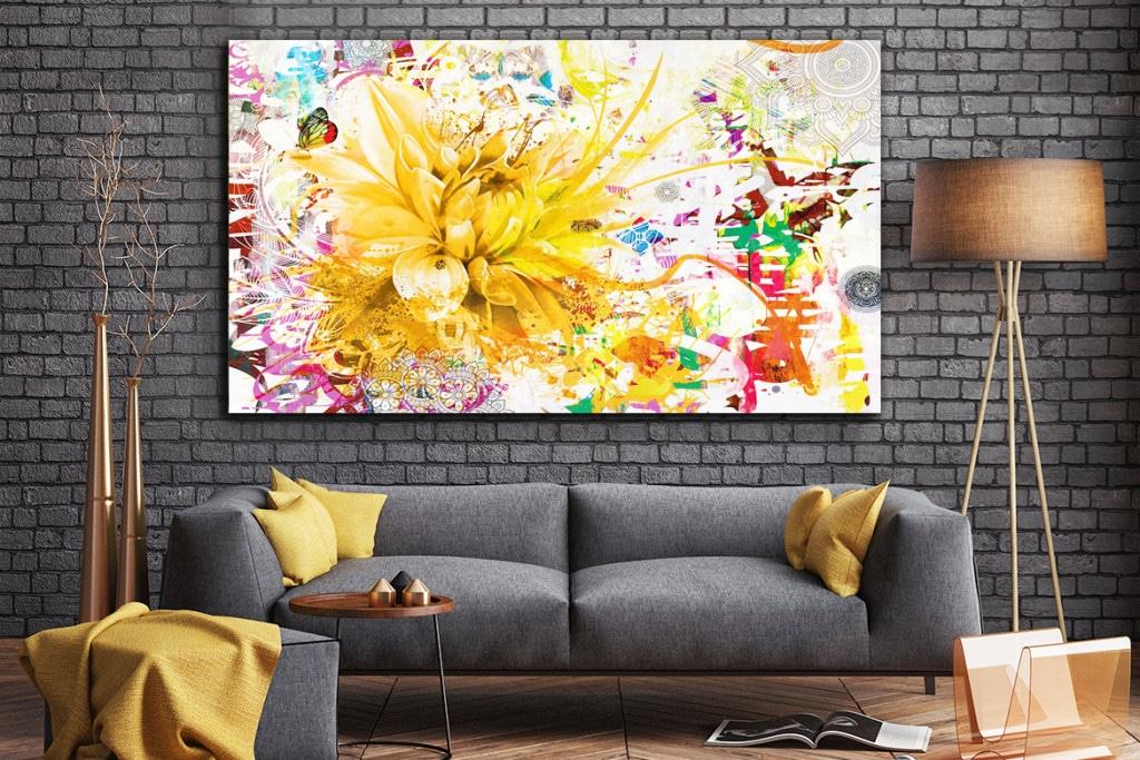 tableau fleur jaune divine folie