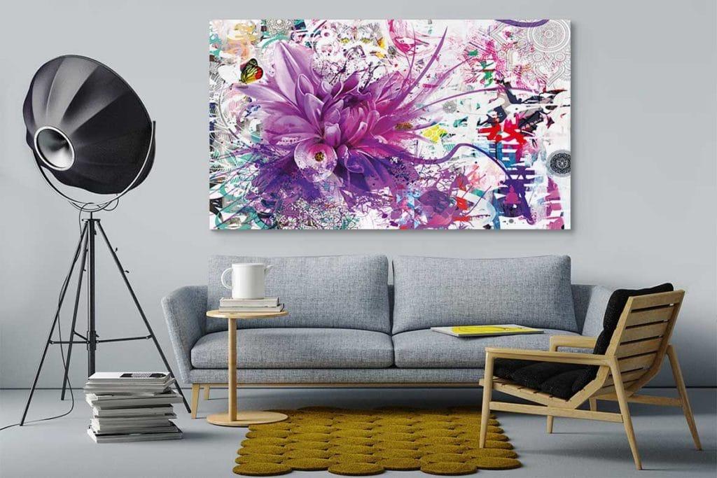 Tableau moderne violet for Tableau moderne deco interieur