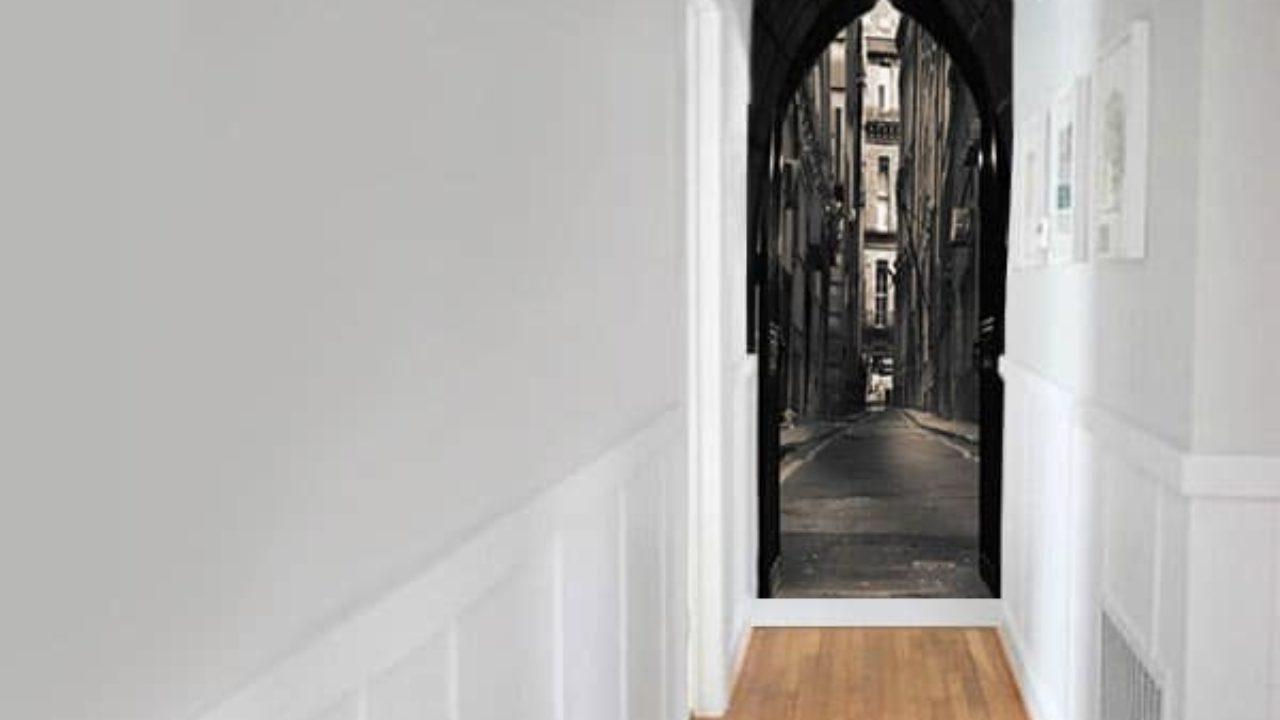Tapisser Porte De Placard un papier peint trompe l'œil au fond de mon couloir - blog izoa