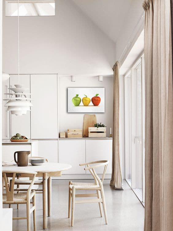 deco cuisine minimaliste toile deco pommes