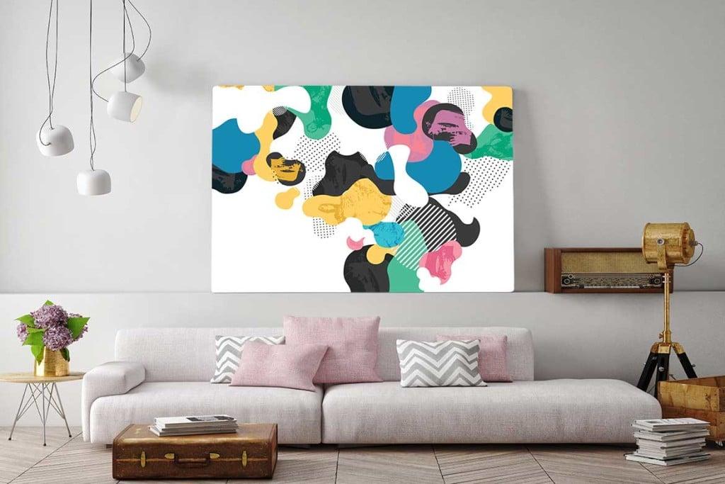 Tableau contemporain abstrait avalanche de couleurs