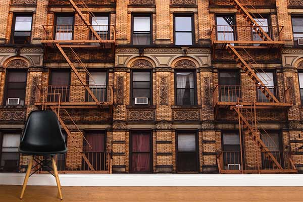 Papier peint trompe l'oeil façade de New York