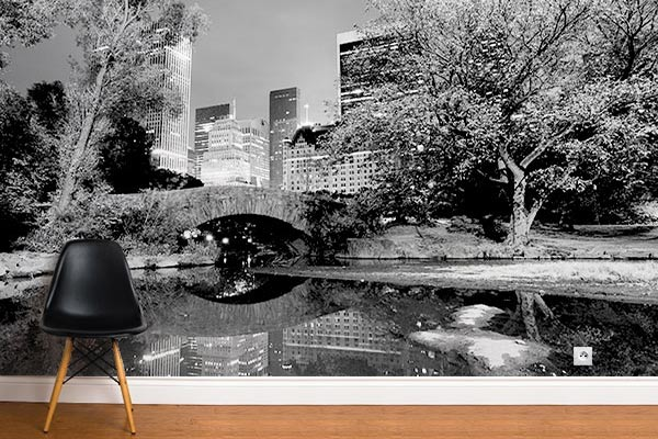 Poster mural New York Central park noir et blanc