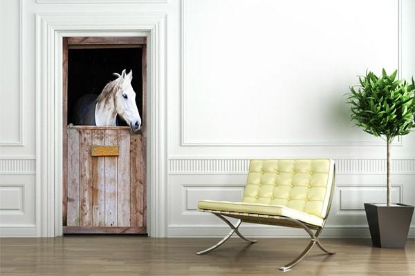 poster de porte cheval blanc