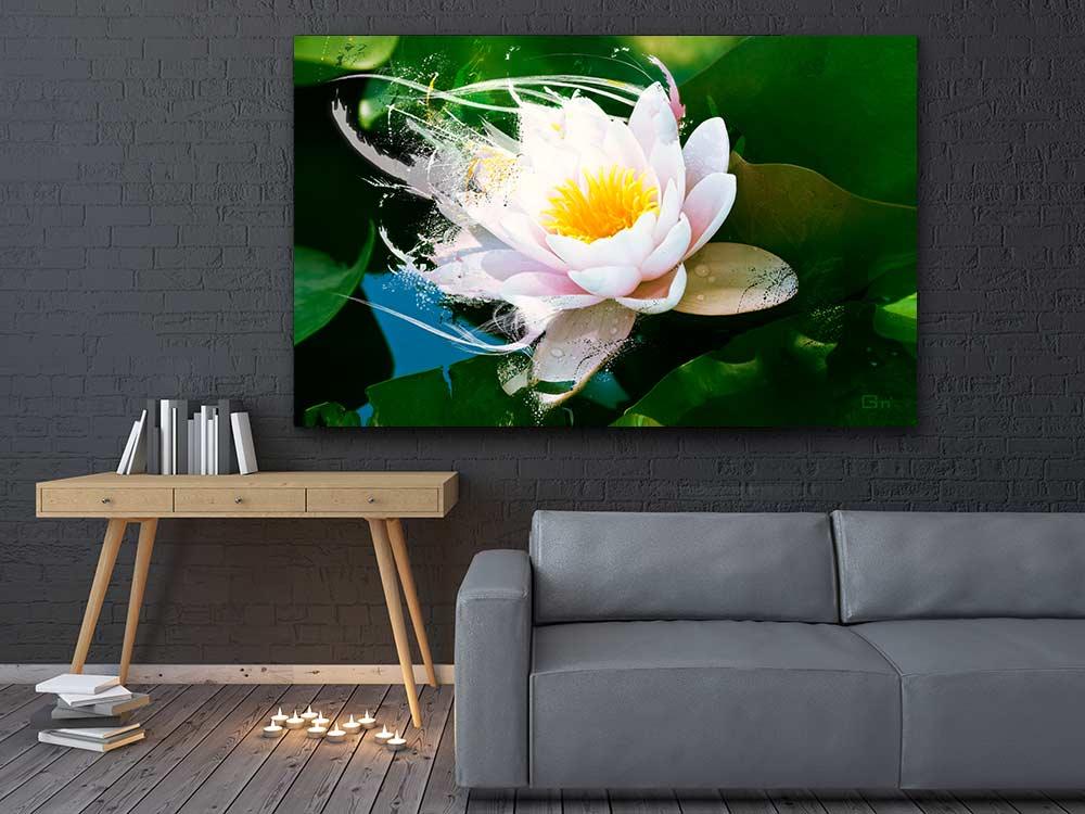 Cadre déco lotus pour déco canapé gris